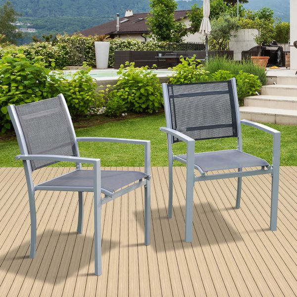 Outsunny Set of 2 Patio Dining Chair Stackable|AOSOM.CA