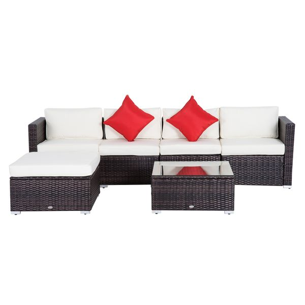 Outsunny 6pc Deluxe Patio Rattan Wicker Set Outdoor Garden Sectional Furniture Sofa Couch with Cushion Coffee Aosom Canada
