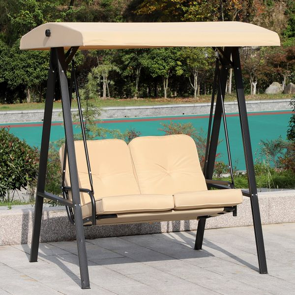 Outsunny 2 Seater Covered Outdoor Swing Chair Hammock Bench with Cushion Tilt Canopy Beige|Aosom.ca