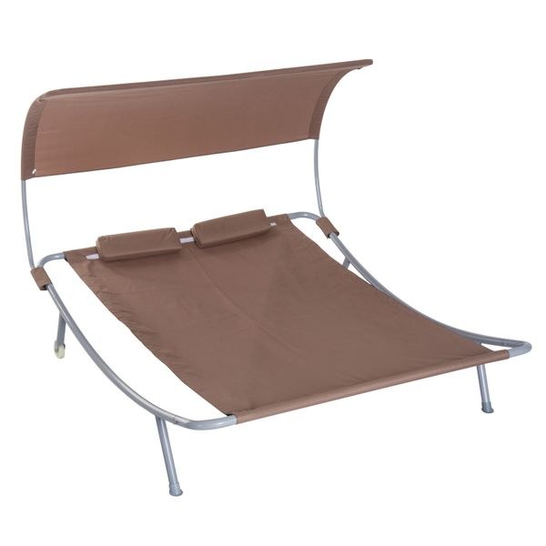 """Outsunny 79"""" Double Sun Lounger Outdoor Hammock Bed Relaxing Chaise Lounge Sleeping Bed w/ Pillow and Canopy