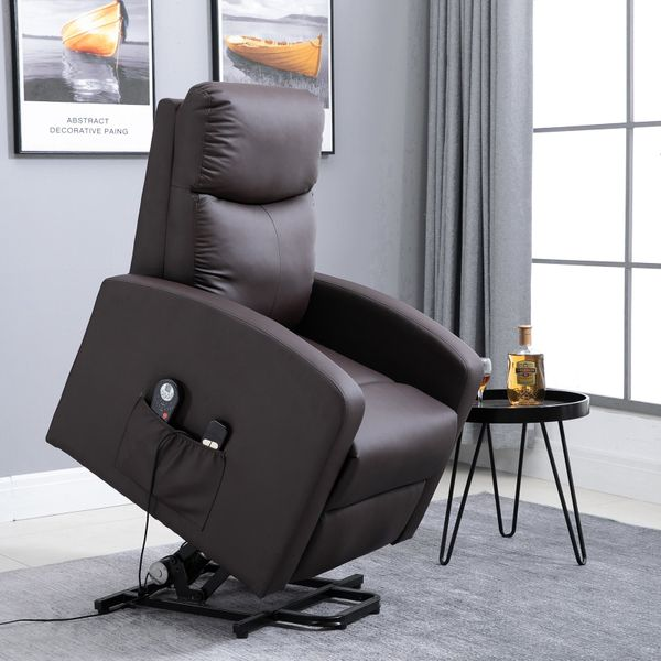 HOMCOM 8- Point Massage Sofa Electric Power  Lift Recliner Over Padded PU Leather W/ Remote Controllers|AOSOM.CA