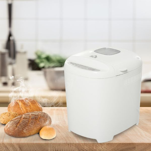 HOMCOM 2 Pound Non-Stick Bread Maker Machine With 11 Menu Settings, 2 Loaf Sizes, 3 Crust Colors, 13h Delay Timer, 1h Warming Function, 550W