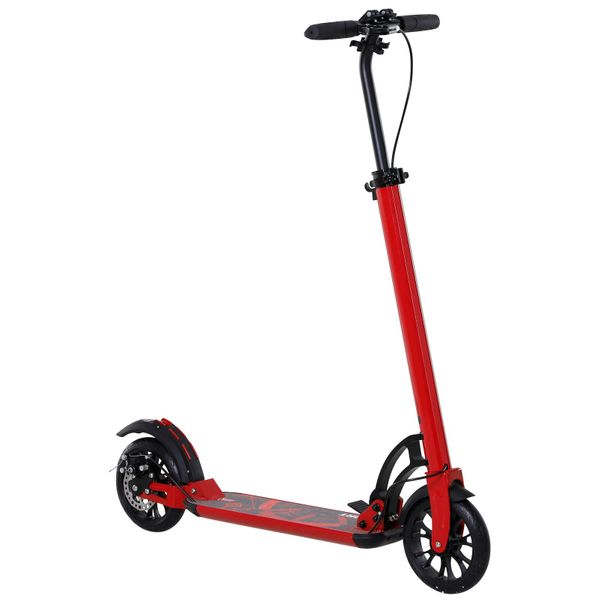 """Soozier Teens Adult Kick Scooter Folding Adjustable Ride On Toy 8"""" Big Solid Wheels For 14+ Red