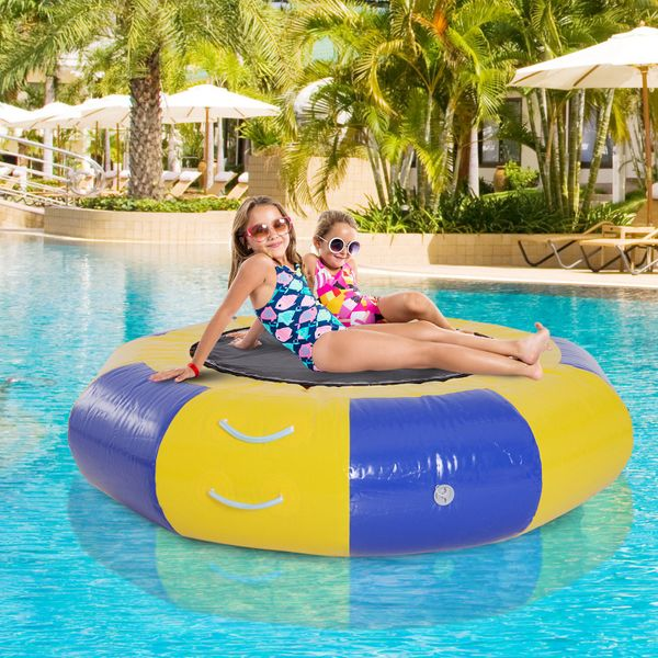 Soozier Inflatable Water Trampoline Bouncer Jumping PVC with Pump Outdoor Summer Swim Platform|Aosom Canada