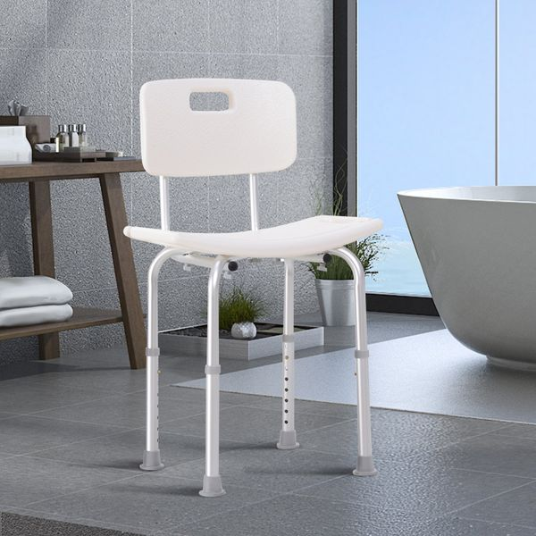HOMCOM Medical Aid Height Adjustable Bath Chair Seat Shower Seat Safety Bathroom Aids with Back Support especially for Elderly Disabled and disablity White | Aosom Canada