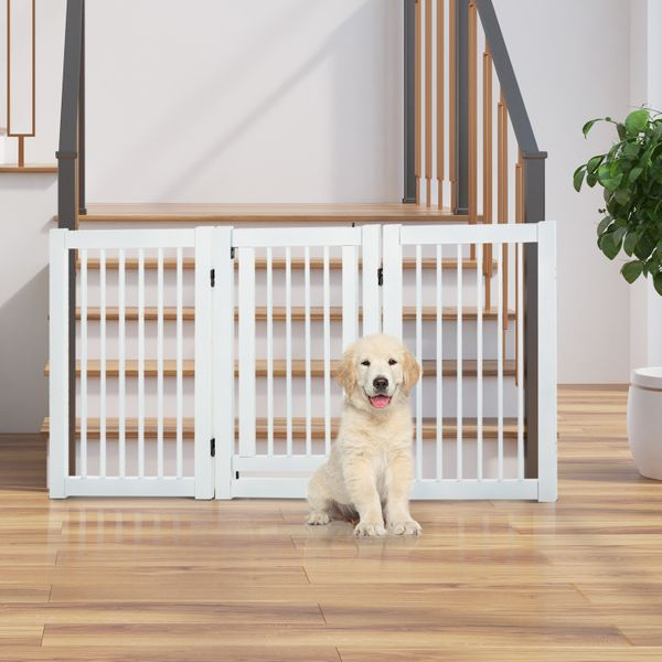 PawHut Free Standing Wooden Pet Gate Indoor Dog Barrier Foldable Step Over Doorway Fence Safety Gate with Open Door Z Shape 3 Panel Configurable | Aosom Canada