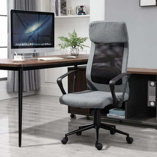 Vinsetto Breathable Home Office Chair Executive Height Adjustable Rolling Swivel Chair With Tilt Function PU | Aosom Canada