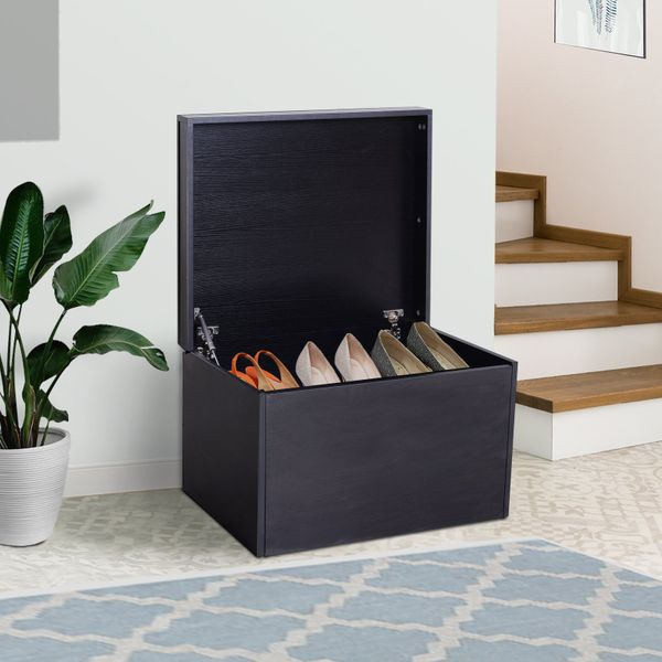 HOMCOM Ample Capacity Shoe Cabinet Box Bench w/ Drawers Particleboard Black | Aosom Canada
