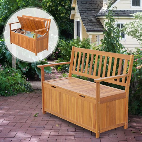 Outsunny Wooden Outdoor Storage Bench Patio Loveseat Seating 2-Person Chair Seat|AOSOM.CA
