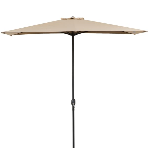 Outsunny 8ft Half Round Umbrella Outdoor Balcony Parasol Wall Sun Shade with 5 Ribs Beige Aluminum | Aosom Canada