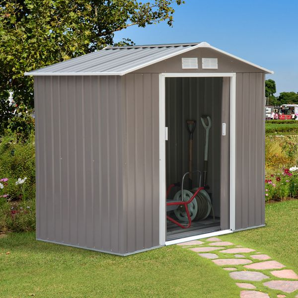 Outsunny Garden Storage Shed 7x4ft w/ Floor Foundation Outdoor Patio Yard Metal Steel Tool House Grey White | Aosom Canada