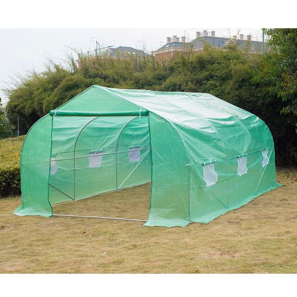 Outsunny Large Walk In Greenhouse 15'x10'x7' Outdoor Garden PE Plant Tunnel Portable Ventilation Green|Aosom Canada