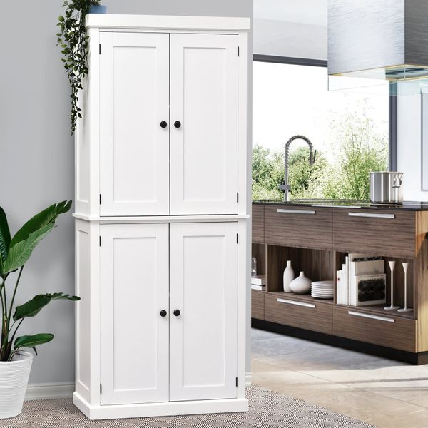 HOMCOM Traditional Farmhouse Freestanding Cupboard Kitchen Pantry with Two Storage Areas Adjustable Shelving White Natural Wood Grain Large Flexible   Aosom Canada