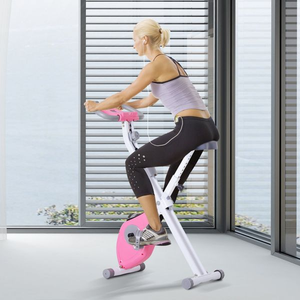 Soozier Indoor Magnetic Upright Exercise Bike with Tablet/Phone Holder White | Aosom Canada