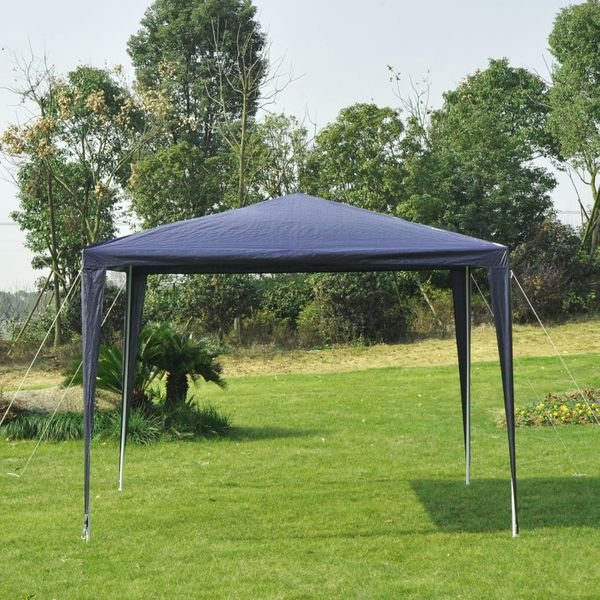Outsunny 10x10ft Party Gazebo Tent Portable Garden Canopy Event Shelter Outdoor Sunshade with Carrying Bag Blue|Aosom.ca