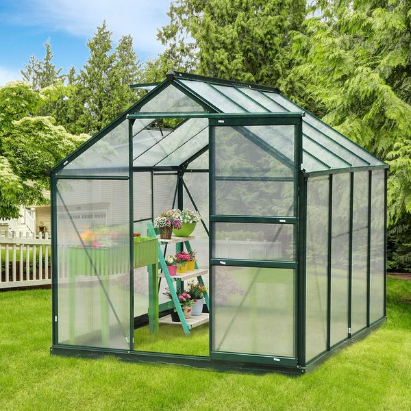 Outsunny 6'x8'x7' Walk-in Garden Greenhouse Polycarbonate Aluminum Frame