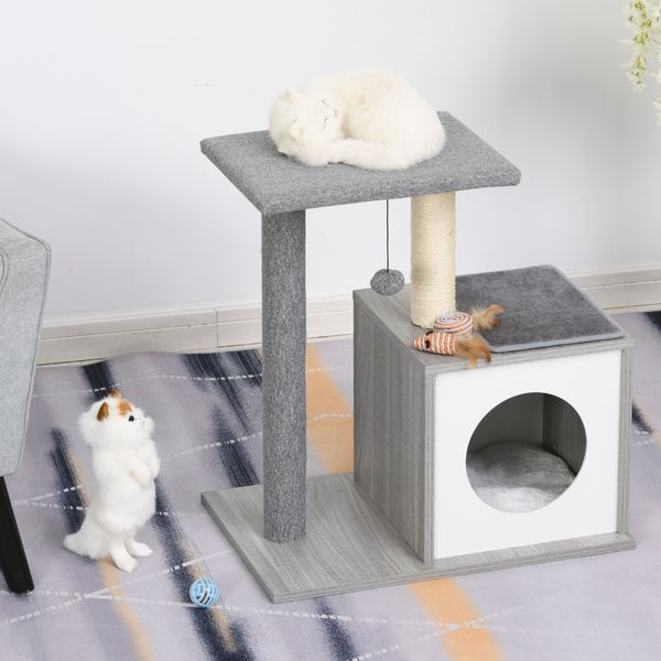 PawHut Cat Tree Condo with Natural Sisal Rope Scratching Post for Pets Multi-level Cat Tree Activity Center for Kittens Cat Tower Furniture Grey kittens | Aosom Canada