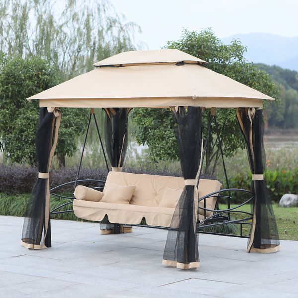 Outsunny 3 Person Outdoor Patio Daybed 3 in 1 Canopied Gazebo Swing Chair Garden Hammock with Mesh Mosquito Net and Sun Shade Aosom Canada