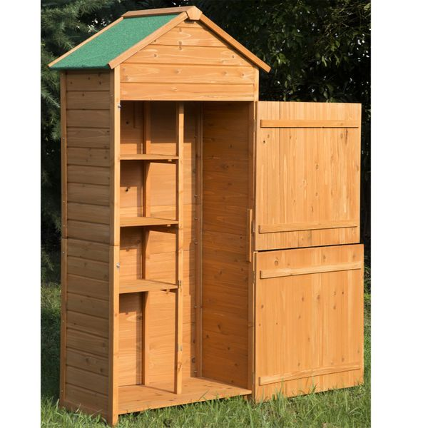 Outsunny Wood Garden Shed Lockable Unit Outdoor Tool Storage Cabinet Arrow Hutch w/ Double Doors | Aosom Canada