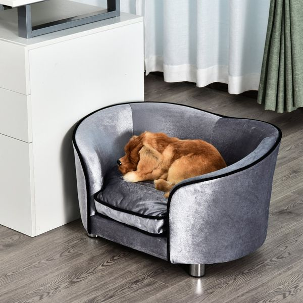 PawHut Pet Sofa Bed Dog Cat Cozy Puppy House Couch Furniture with Removable Cushion, Light Grey