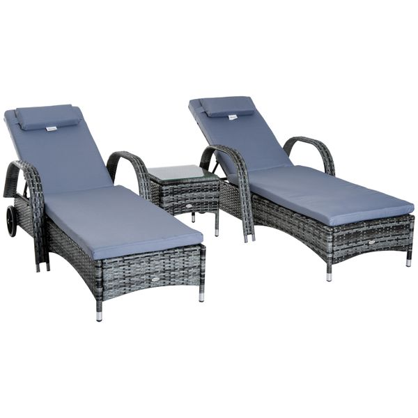 Outsunny Wheeled Patio Rattan Lounge Set Adjustable Portable with Side Table Gray|AOSOM.CA