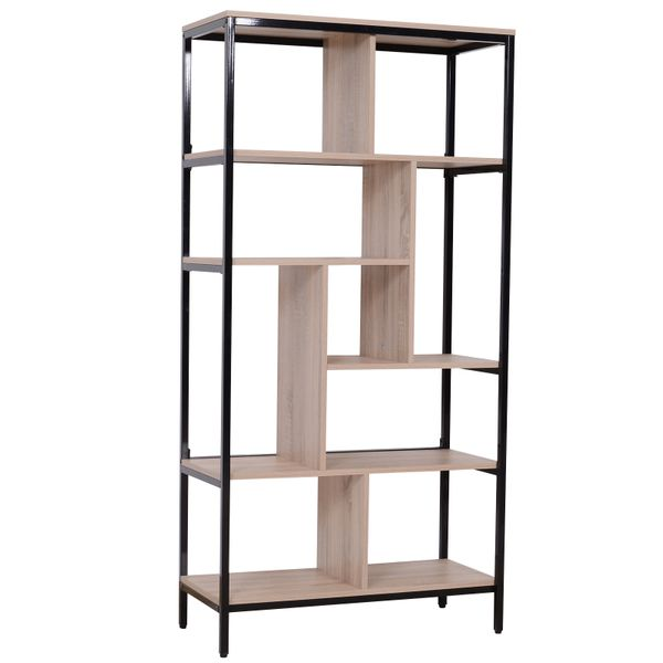 "HOMCOM 63"" Tall Multi-Use Shelf Bookshelf Bookcase Display Storage Cabinet w/Coated Mental Construction Organizer Plant Stand Black & Oak