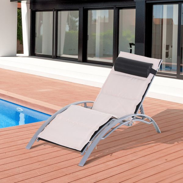 Outsunny Adjustable Patio Reclining Outdoor Chaise Lounge Chair with Cushion and Pillow (Black)|Aosom.ca