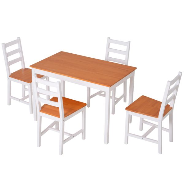 Homcom 5 Piece Solid Pine Wood Table And High Back Chair Dining Set White Natural Wood Wooden With 4 Chairs Home White Honey Kitchen Dining Aosom Canada