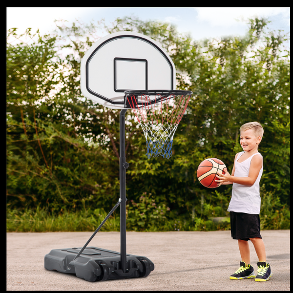 "HOMCOM 51""-64"" Height Adjustable Basketball System Portable Poolside Hoop Stand with Wheels Pool Toy 