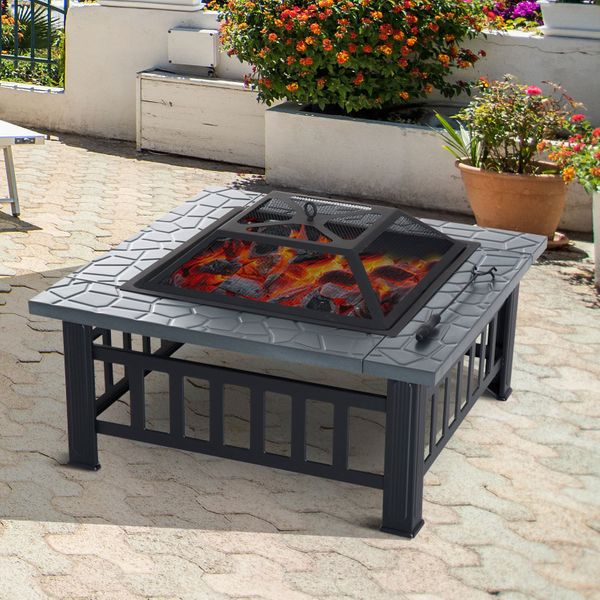 """Outsunny 32"""" Square Fire Fit Outdoor Steel Firepit Backyard Patio Garden Stove w/ Rain Cover Portable with Pit Black