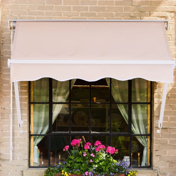 Outdoor 4FT Drop Arm Manual Window Awning - Adjustable - Cream - White | Aosom Canada