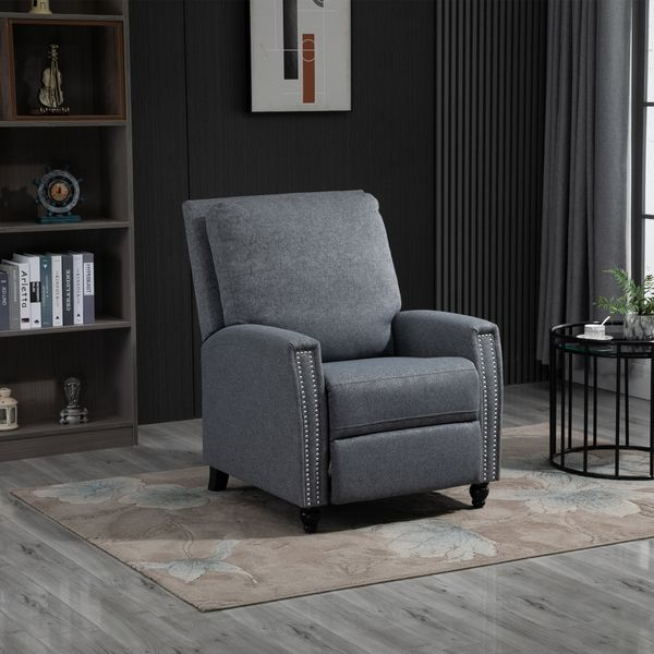 HOMCOM Modern Push Back Manual Recliner Chair Fabric Upholstered Armchair Home Lounge Sofa for Living Room & Bedroom
