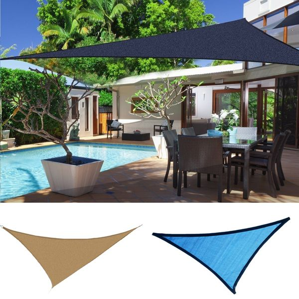 Outsunny Triangle 12' Canopy Sun Sail Shade Garden Cover UV Protector Outdoor Patio Lawn Shelter with Carrying Bag | Aosom Canada
