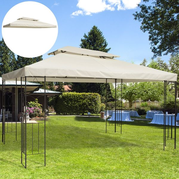 Gazebo Replacement Canopy 13' x 10' 2 Tier Water-resistant Top UV Cover Garden Roof