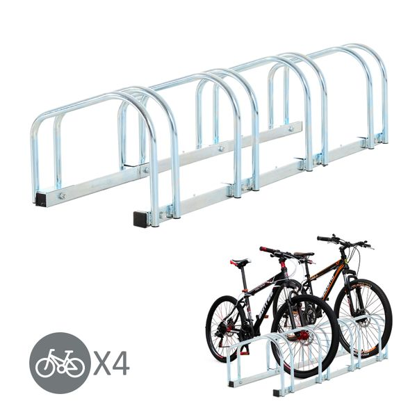HOMCOM 4 Bike Rack Parking Storage Stand Crown Sporting Goods Ground Mount Garage Organizer Silver|Aosom Canada