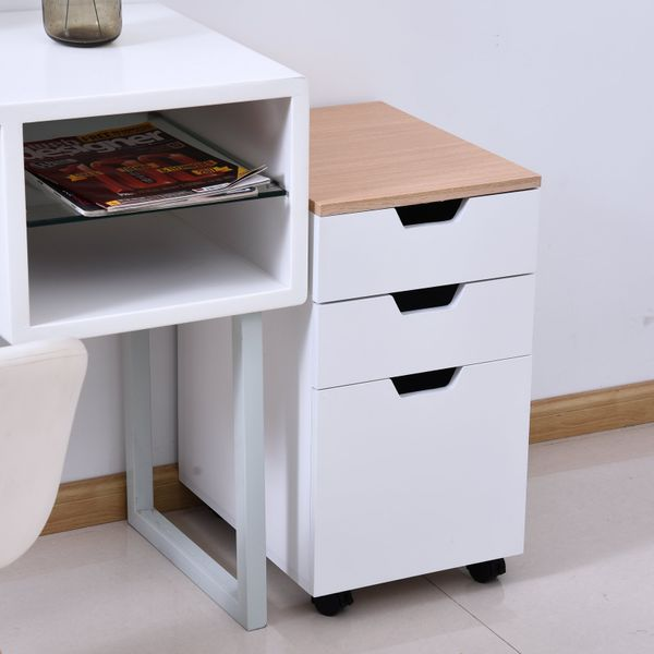 HOMCOM 3-Drawer Rolling File Cabinet with 2 Locking Casters, Convenient Storage Space Saving Design, White and Natural Wood | Aosom Canada