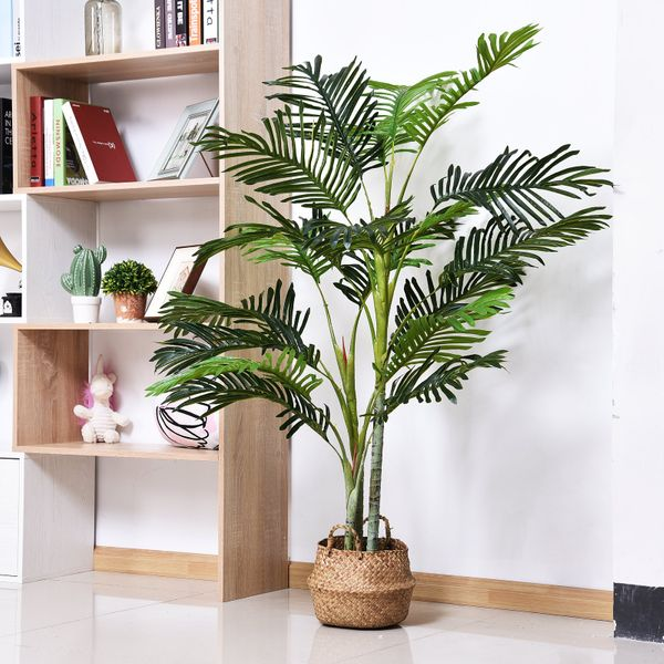 """Outsunny 59"""" Artificial Palm Tree Decorative Indoor Faux Green Plant w/Leaves Home Décor Tropical Potted Home Office Decor 