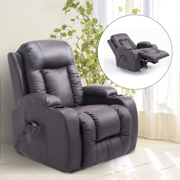 HOMCOM Faux Leather Heated Vibrating Massage Recliner Chair with Remote Brown|AOSOM.CA