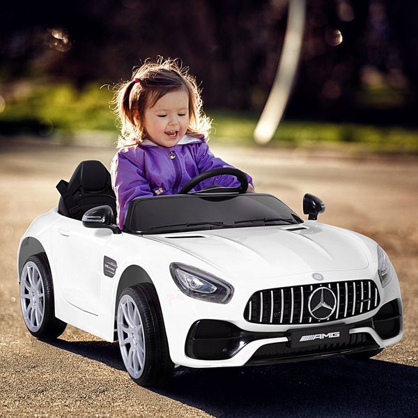 Aosom Licensed Mercedez Kids Ride-On Car 12V with Remote Control Suspension Wheel Adjustable Speed White|Aosom Canada