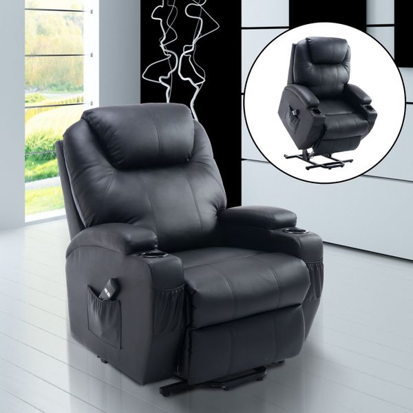HOMCOM Electric Power Recline 2 Position Lift Chair Recliner PU Faux Leather Black | Aosom Canada
