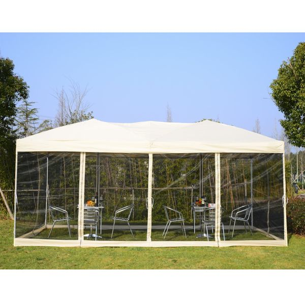 Outsunny 10x20 canopy Pop Up Party Tent Gazebo Patio Garden Wedding Canopy with 6 Removable Mesh Sidewalls and Carry Bag Beige | Aosom Canada