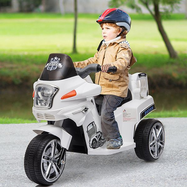 Aosom Pedal-Powered Ride-On Motorcycle for Kids  6V with Remote Parental Control White|AOSOM.CA