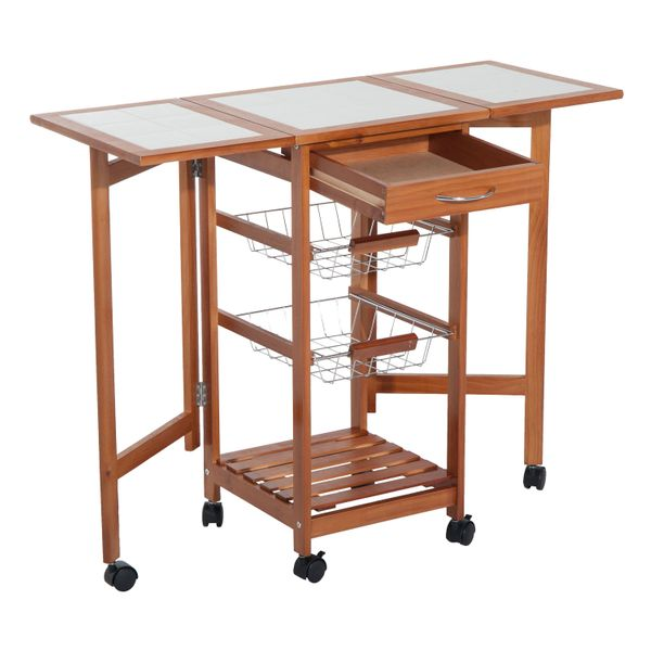 HomCom Folding Rolling Trolley Kitchen Cart Table Island with Basket Wooden 4 Tier Storage Drawer Rack | Aosom Canada
