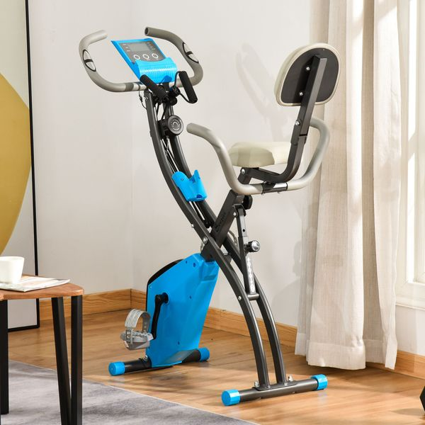 Soozier 2 in 1 Upright  Exercise Bike Stationary Foldable Magnetic Recumbent Cycling with Arm Resistance Bands Blue Folding w/ Band | Aosom Canada