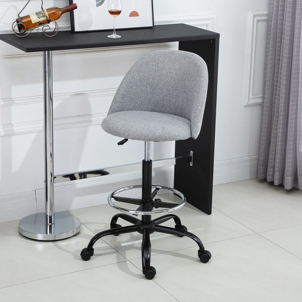 Vinsetto Ergonomic Drafting Chair with Adjustable Foot Ring Adjustable Height Low-Back Grey Stool Casters Office | Aosom Canada
