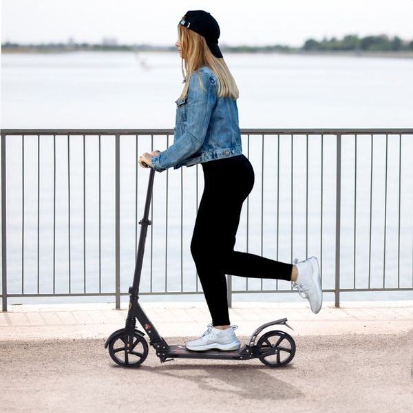 Soozier Teens Adult Kick Folding  Scooter Adjustable Height With Brakes and Kickstand Black|Aosom Canada