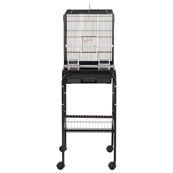 "PawHut 51"" Metal Bird Cage w/ Wheel Storage Shelf Black