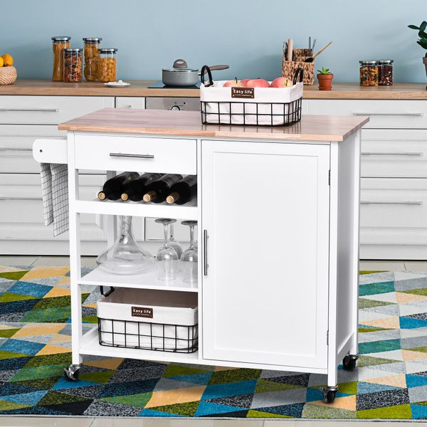 HOMCOM Kitchen Trolley Serving Cart Rolling with Drawer and Open Shelf White|AOSOM.CA