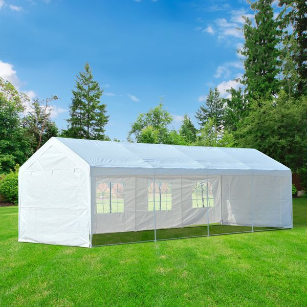 Outsunny 10 x 30ft Heavy Duty  Party Tent Gazebo Carport Camping Canopy (10 x 30ft) with Removable Sidewalls White