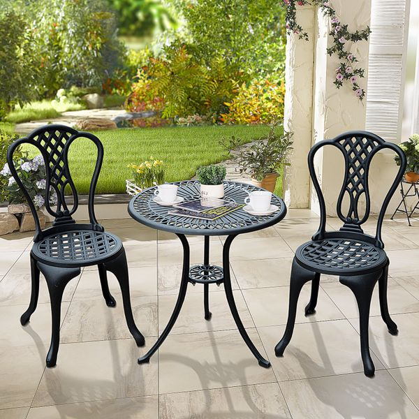 Outsunny Garden Cast Aluminum Cafe Bistro Set Outdoor Furniture Table & Chairs
